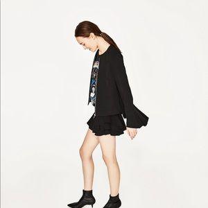 Zara Black Ruffle/Bell Sleeve Jacket